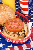 Chicken burger on Fourth of July Royalty Free Stock Photos