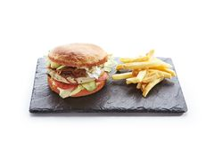 Chicken Burger with French Fries Garnish. Fresh Chicken Burger with Onions, Tomato Sauce, Pickled Cucumbers, Green Lettuce, Turkey, Cheese and French Fries royalty free stock images