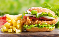 Chicken burger with french fries stock image