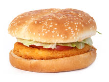 Chicken burger. Fried chicken breast burger over white stock photography