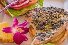 Chicken burger Hawaiian style Royalty Free Stock Image