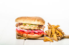 Chicken burger, healthy burger Royalty Free Stock Photography
