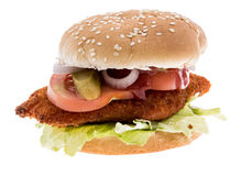 Chicken Burger isolated on white Stock Image