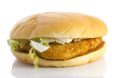 Chicken burger, isolated Stock Photo