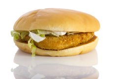 Chicken burger, isolated Royalty Free Stock Photo