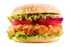 Chicken burger isolated on white background. Chicken burger with vegetables isolated on white background royalty free stock image
