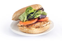 chicken burger with lettuce and tomato Royalty Free Stock Photography