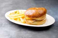 Chicken burger plate with french fries and salad Royalty Free Stock Photography