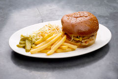 Chicken burger plate with french fries and salad Royalty Free Stock Photos
