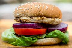 Chicken Burger or Sandwich in a Sesame Bread Roll Royalty Free Stock Images