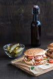 Chicken burger served Stock Photo