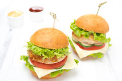 Chicken burger with vegetables, cheese and sauces Royalty Free Stock Photography