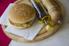 Chicken Burger With Spices Stock Photo