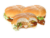 Chicken burgers. Fried chicken burgers royalty free stock photo