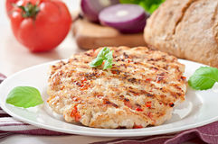 Chicken burgers grilled stock photography
