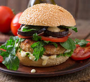 Chicken burgers with tomato and eggplant - sandwich. Stock Photos