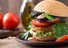 Chicken burgers with tomato and eggplant - sandwich. Royalty Free Stock Photos