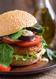 Chicken burgers with tomato and eggplant - sandwich. Royalty Free Stock Images