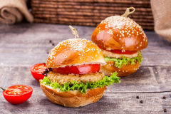 Chicken burgers Royalty Free Stock Photography
