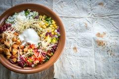 Chicken burrito bowl Stock Images