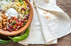 Chicken burrito bowl Stock Image
