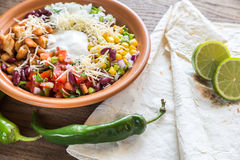 Chicken burrito bowl Stock Image