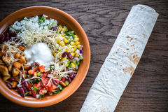 Chicken burrito bowl Royalty Free Stock Images