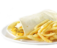 Chicken burrito and French fries Royalty Free Stock Photos