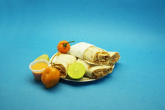Chicken burritos, chile Stock Images