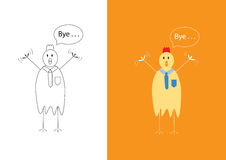 Chicken businessman saying goodbye Royalty Free Stock Image