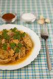Chicken with cabbage_1. Delicious cooked chicken with cabbage Royalty Free Stock Photography