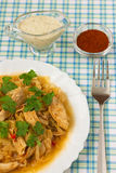Chicken with cabbage_9. Delicious cooked chicken with cabbage Royalty Free Stock Photos