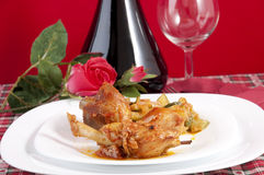 Chicken cacciatore with boiled zucchini and tomato Royalty Free Stock Images