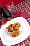 Chicken cacciatore with boiled zucchini and tomato Royalty Free Stock Image