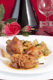Chicken cacciatore with boiled zucchini and tomato Stock Photo