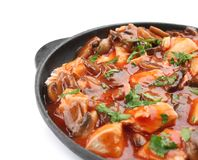 Chicken cacciatore in frying pan isolated Royalty Free Stock Images