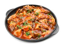 Chicken cacciatore in frying pan isolated Stock Image
