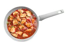 Chicken cacciatore in frying pan isolated Stock Photo