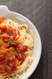 Chicken Cacciatore over pasta cut off shot Royalty Free Stock Photo