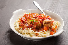 Chicken Cacciatore over pasta horizontal shot Royalty Free Stock Images