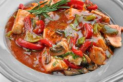 Chicken cacciatore in plate Royalty Free Stock Photo