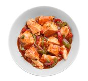 Chicken cacciatore in plate isolated Royalty Free Stock Image