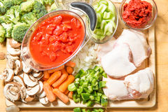Chicken cacciatore raw ingredients Stock Image