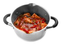 Chicken cacciatore in saucepan isolated Stock Photos