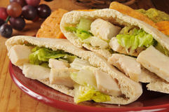 Chicken Caesar Pita Closeup Stock Photos