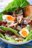 Chicken Caesar Salad. With eggs, bacon, croutons, kos, and shaved parmesan Royalty Free Stock Image