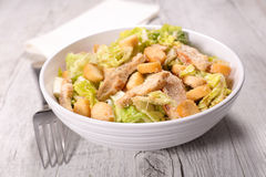 Chicken caesar salad. Bowl with chicken caesar salad Royalty Free Stock Photography
