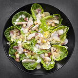 Chicken Caesar Salad Overhead View Stock Image