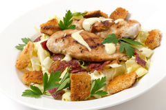 Chicken caesar salad, side view Stock Images