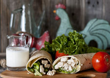 Chicken Caesar Wrap Stock Photo